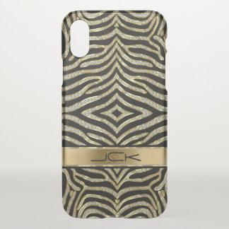Capa Para iPhone X Teste padrão do animal do ouro & da zebra do