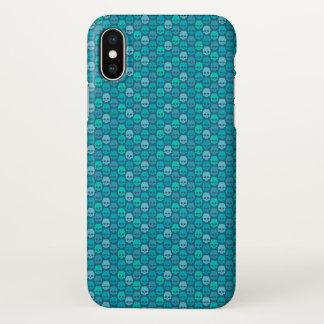 Capa Para iPhone X Teste padrão do crânio em cores do azul e da