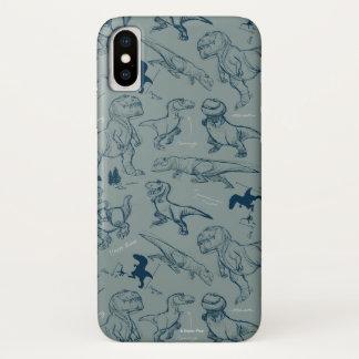 Capa Para iPhone X Teste padrão do esboço do dinossauro