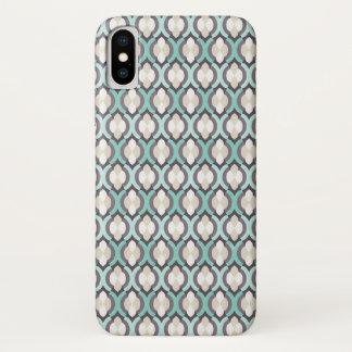 Capa Para iPhone X Teste padrão do marroquino de turquesa
