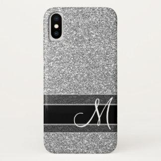 Capa Para iPhone X Teste padrão falsificado do brilho com monograma -