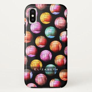 Capa Para iPhone X Teste padrão feminino do voleibol do pop art