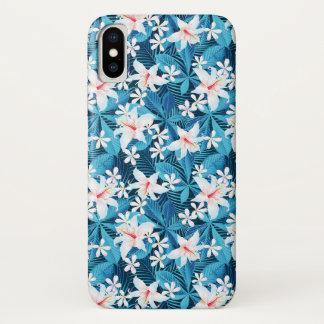Capa Para iPhone X Teste padrão floral 2 do hibiscus tropical