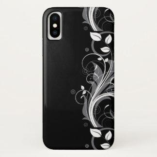 Capa Para iPhone X Teste padrão floral cinzento no preto