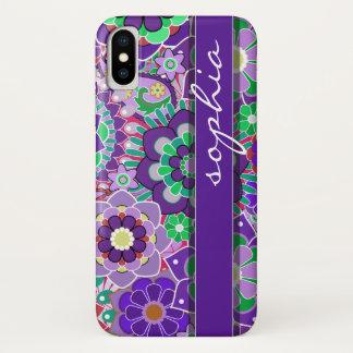 Capa Para iPhone X Teste padrão floral colorido com nome - beringela