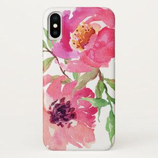 Capa Para iPhone X Teste padrão floral da aguarela do rosa quente