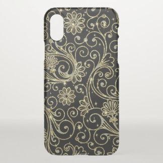 Capa Para iPhone X Teste padrão floral do vintage no branco & no