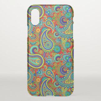 Capa Para iPhone X Teste padrão floral retro colorido de Paisley