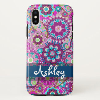 Capa Para iPhone X Teste padrão floral retro com nome