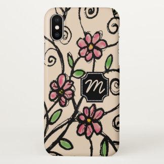 Capa Para iPhone X Teste padrão floral rústico Monogrammed