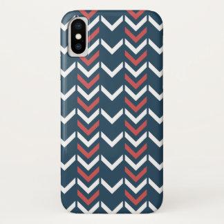 Capa Para iPhone X Teste padrão geométrico azul escuro & vermelho de