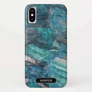 Capa Para iPhone X Teste padrão legal do mármore do abstrato do azul