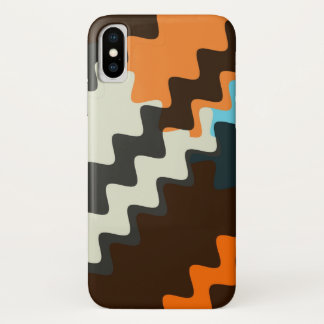 Capa Para iPhone X Teste padrão ondulado de Brown do Seashell