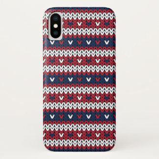 Capa Para iPhone X Teste padrão patriótico da camisola do Natal