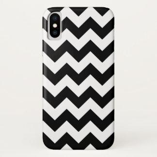 Capa Para iPhone X Teste padrão preto e branco de Chevron do