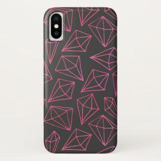 Capa Para iPhone X Teste padrão preto e vermelho da vida do diamante