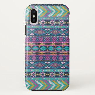 Capa Para iPhone X Teste padrão tribal geométrico colorido