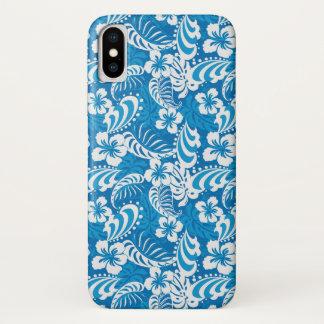 Capa Para iPhone X Teste padrão tropical do hibiscus