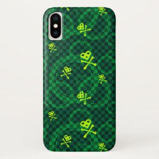 Capa Para iPhone X Teste padrão verde de Emo com círculos