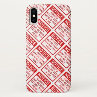 Capa Para iPhone X Teste padrão vermelho e branco da praia do nudista