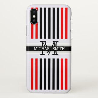 Capa Para iPhone X Teste padrão vermelho preto moderno das listras do