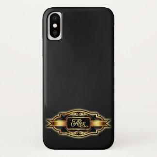 Capa Para iPhone X Texto ornamentado preto brilhante do costume do