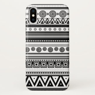 Capa Para iPhone X Textura asteca branca preta bonito
