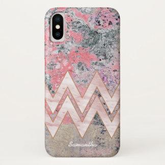 Capa Para iPhone X Textura cor-de-rosa e vigas com seu nome