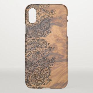 Capa Para iPhone X Textura de madeira de Brown & laço preto