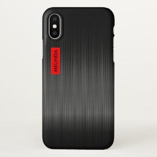 Capa Para iPhone X Textura preta brilhante da fibra do carbono