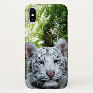 Capa Para iPhone X Tigre branco