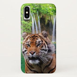 Capa Para iPhone X Tigre e cachoeira