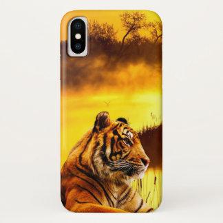 Capa Para iPhone X Tigre e por do sol