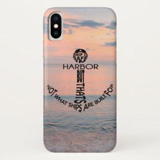 Capa Para iPhone X Tipografia da âncora na praia