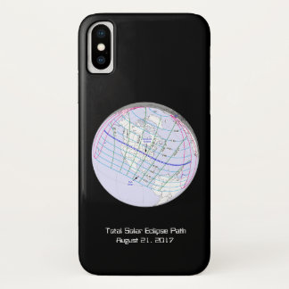 Capa Para iPhone X Trajeto global do eclipse solar 2017 totais