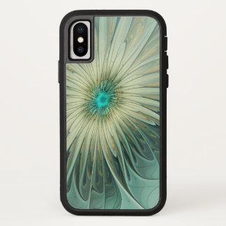 Capa Para iPhone X Trigo abstrato moderno de turquesa da flor da