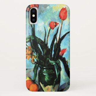 Capa Para iPhone X Tulipas em um vaso por Paul Cezanne, arte do