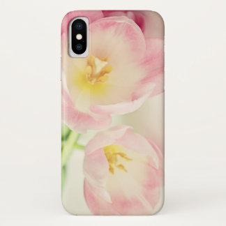 Capa Para iPhone X Tulipas macias do rosa do vintage