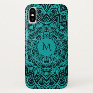 Turquoise and Black Monogram Mandala