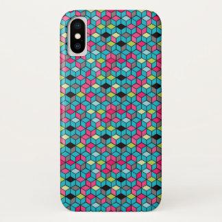 Capa Para iPhone X Turquesa e teste padrão cor-de-rosa do cubo