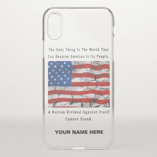 Capa Para iPhone X Uma nação dividida (palavras da letra preta)