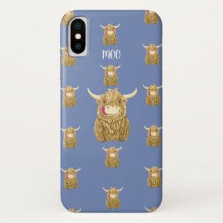 Capa Para iPhone X Vaca pequenina personalizada das montanhas de