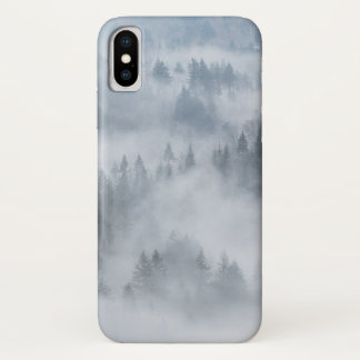 Capa Para iPhone X Vale enevoado da floresta
