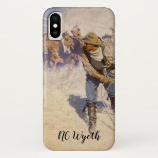 Capa Para iPhone X Vaqueiros ocidentais do vintage, na cerca por NC