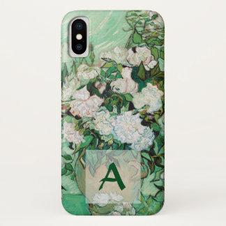 Capa Para iPhone X Vaso de Van Gogh com monograma cor-de-rosa da arte