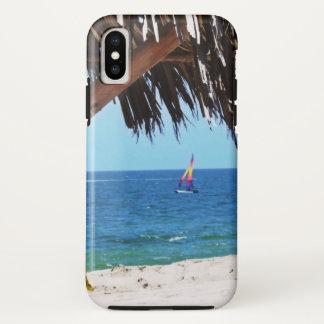 Capa Para iPhone X Veleiro colorido da praia tropical