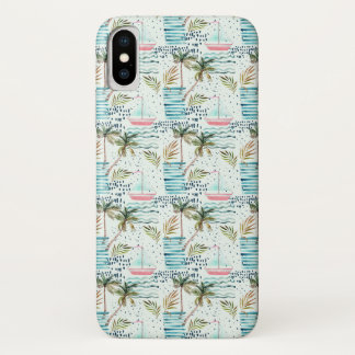 Capa Para iPhone X Veleiro da aguarela com teste padrão da palmeira