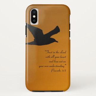 Capa Para iPhone X Verso amarelo da bíblia da fé do pássaro do céu do