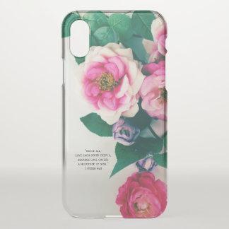 Capa Para iPhone X Verso cor-de-rosa selvagem cor-de-rosa da bíblia