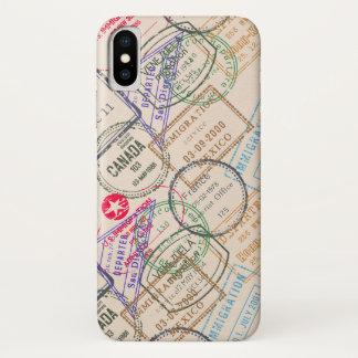 Capa Para iPhone X Viagem dos selos do passaporte